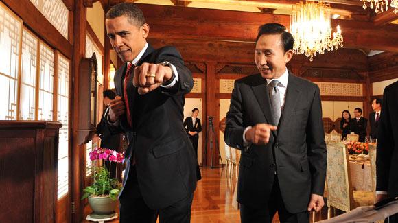 Obama Taekwondo Lee Myung Bak