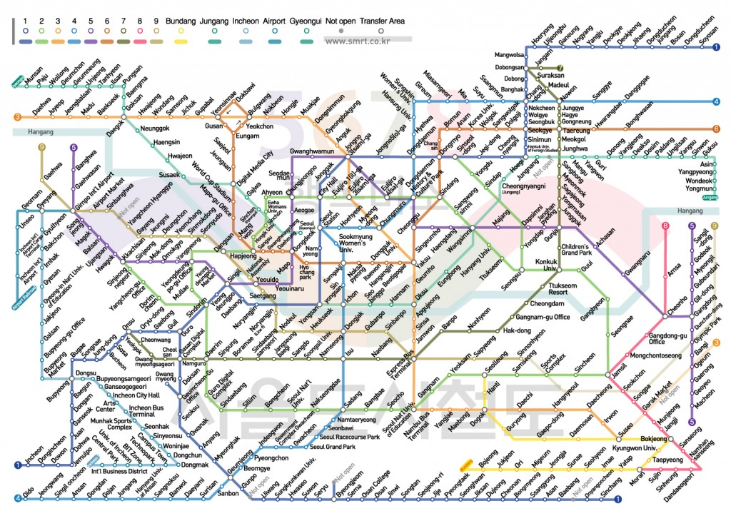 Metro Map of Seoul South Korea