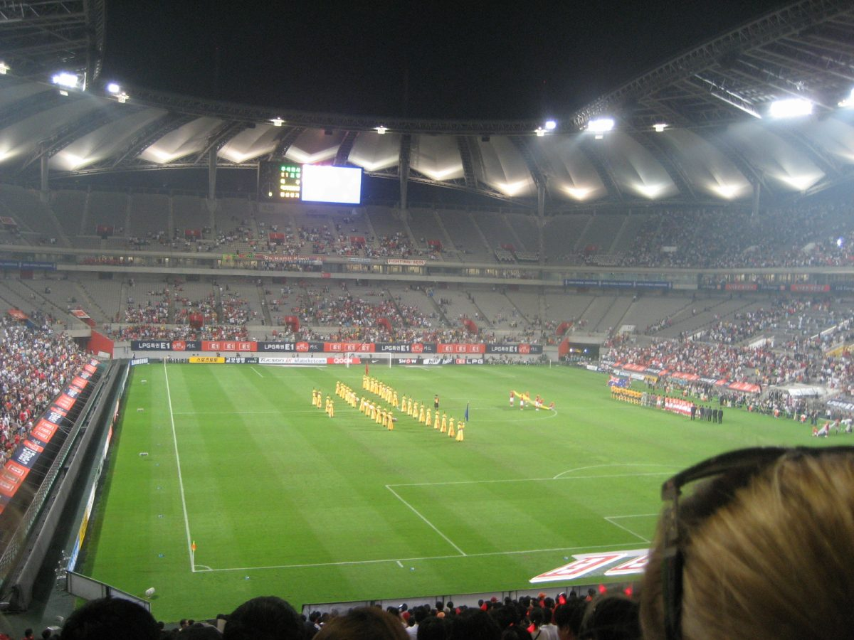 a picture from inside world cup soccer stadium in seoul