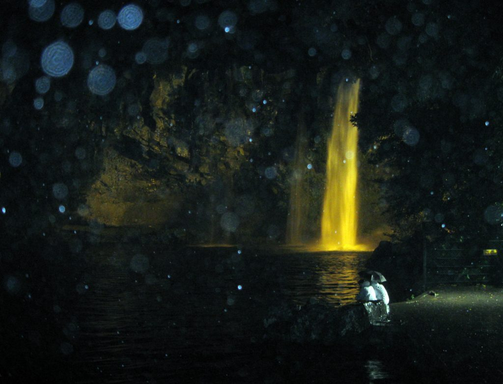 the Cheonjiyeon waterfall on jeju island at night